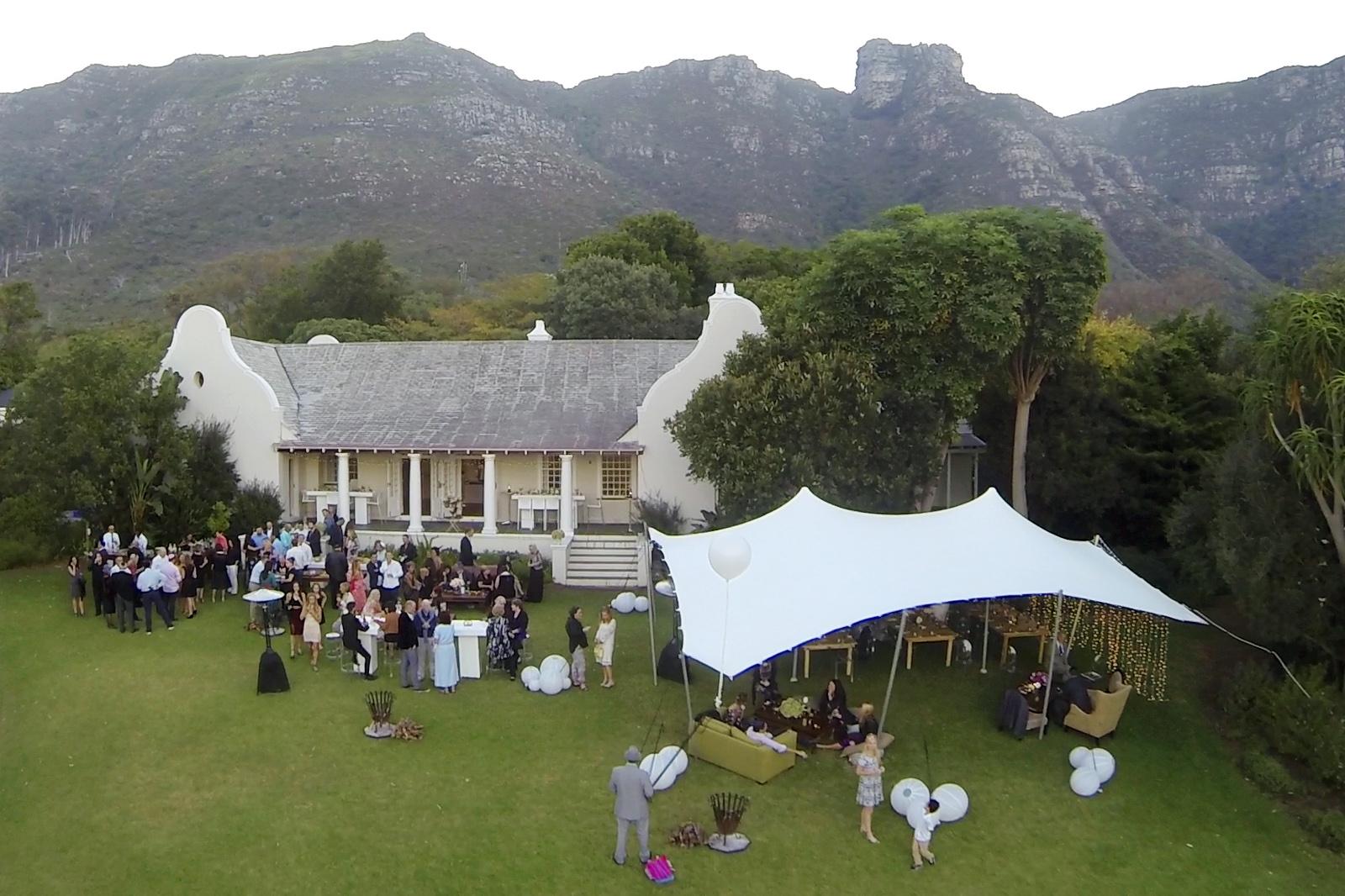 Wedding aerial photo Cape Town w
